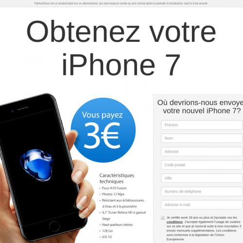 (2714) [WEB+WAP] Win iPhone 7 for 3€ - FR - CPA - cc submit