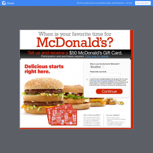 Get a $50 McDonalds Gift card.