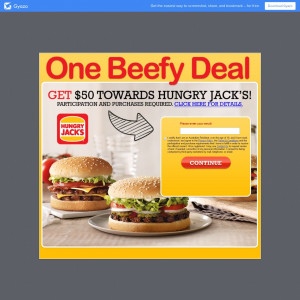 Get a $50 gift card for Hungry Jacks