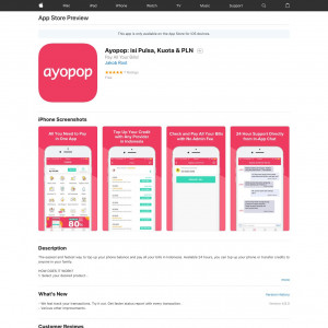Ayopop: isi Pulsa, Kuota & PLN (iPhone 8.0+, iPad 8.0+) ID - Non incent