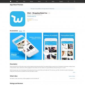 Wish - Shopping Made Fun (API) (iPhone 9.0+, iPad 9.0+) US - Non incent