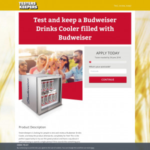 Test and keep a Budweiser Drinks Cooler filled with Budweiser - CPL - UK
