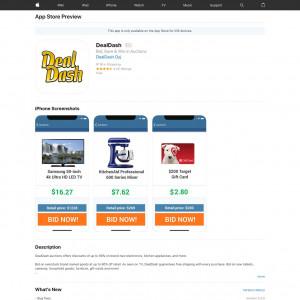 DealDash (iPhone 8.0+, iPad 8.0+) US - Non incent