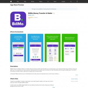 BillMo Money Transfer & Wallet (API) (iPhone 8.0+, iPad 8.0+) MX - Non incent