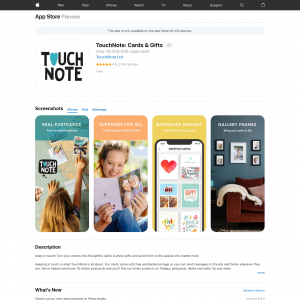 TouchNote: Cards & GiftsIOSTablet,Mobile (iPhone 10.0+, iPad 10.0+) NZ - Non incent