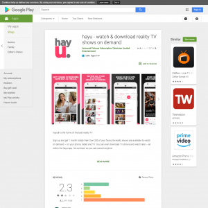 hayu – on demand reality TV_ANDROID_SE$ 133180 (API) (Android 4.4+) CA - Non incent